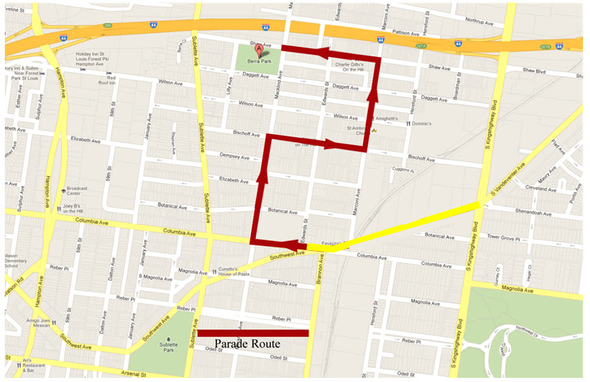Columbus Day Parade Route