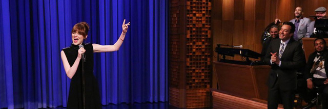 Jimmy Fallon and Emma Stone square off in Lip Sync Battle
