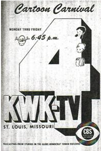 An advertisement from the early days of KMOV, then KWK-TV