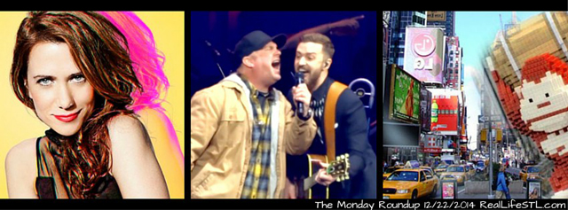 The Monday Roundup from RealLifeSTL featuring Kiristen Wiig and Dr. Ev il on Saturday Night Live, Garth Brooks and Justin Timberlake in Nashville, Pixels the movie, St. Louis Rams talk, and more