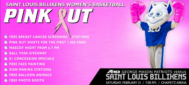 Saint Louuis University Women's Basketball Pink Out