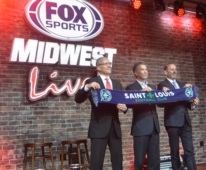 MLS Commissioner Don Garber and US Soccer Secretary General Dan Flynn in St. Louis with Saint Louis FC  Owner  Jim Kavanaugh