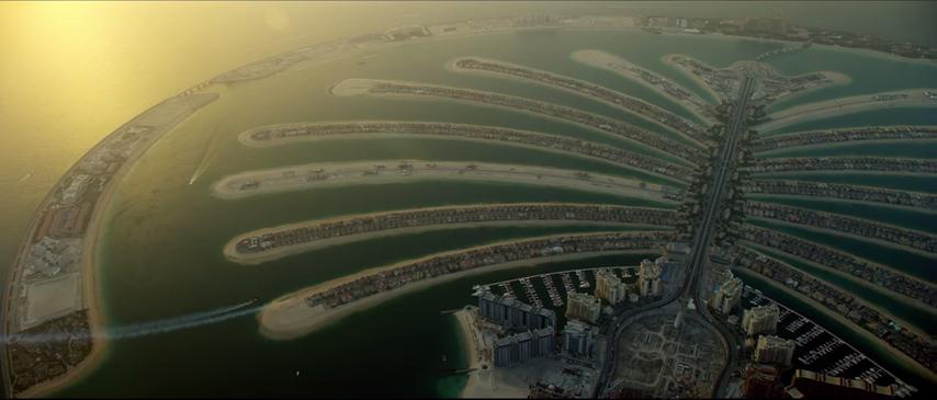 Man with jetpack flies over Dubai