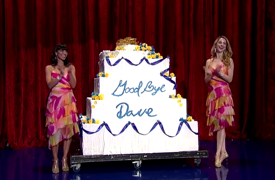 Bill Murray pops out of a cake on David Letterman's final show