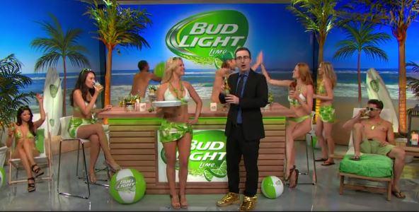 John Oliver drinks a Bud Light Lime after Sepp Blatter annoucement