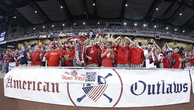 The American Outlaws, a U.S. Soccer supporter's group, celebrates at a recent game.