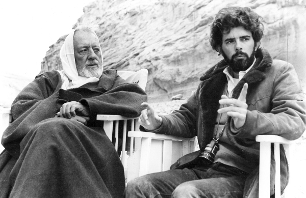 George Lucas on the set of Star Wars in 1977 with Alec Guinness.