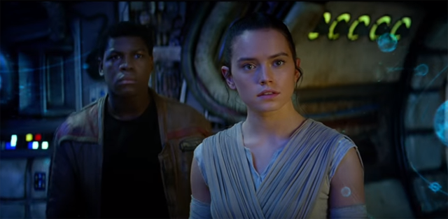 Rey and Finn in Star Wars: Episode VII - The Force Awakens