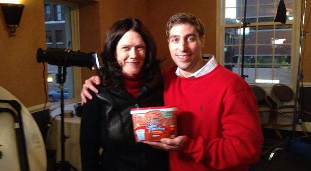 Kathleen Zellner and Ryan Ferguson with ice cream to celebrate Ferguson's release from prison.