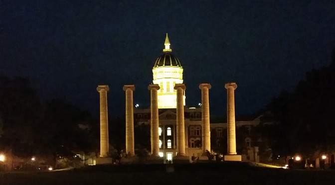 The Columns at the University of Missouri-Columbia at night.