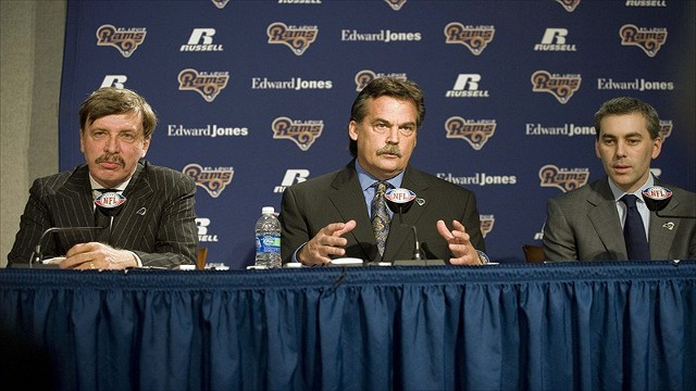 Los Angeles Rams owner Stan Kroenke, coach Jeff Fisher and COO Kevin Demoff
