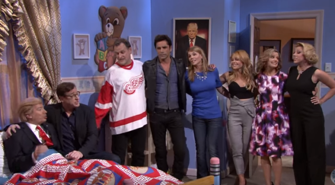 The Fuller House cast with Donald Trump on Jimmy Fallon