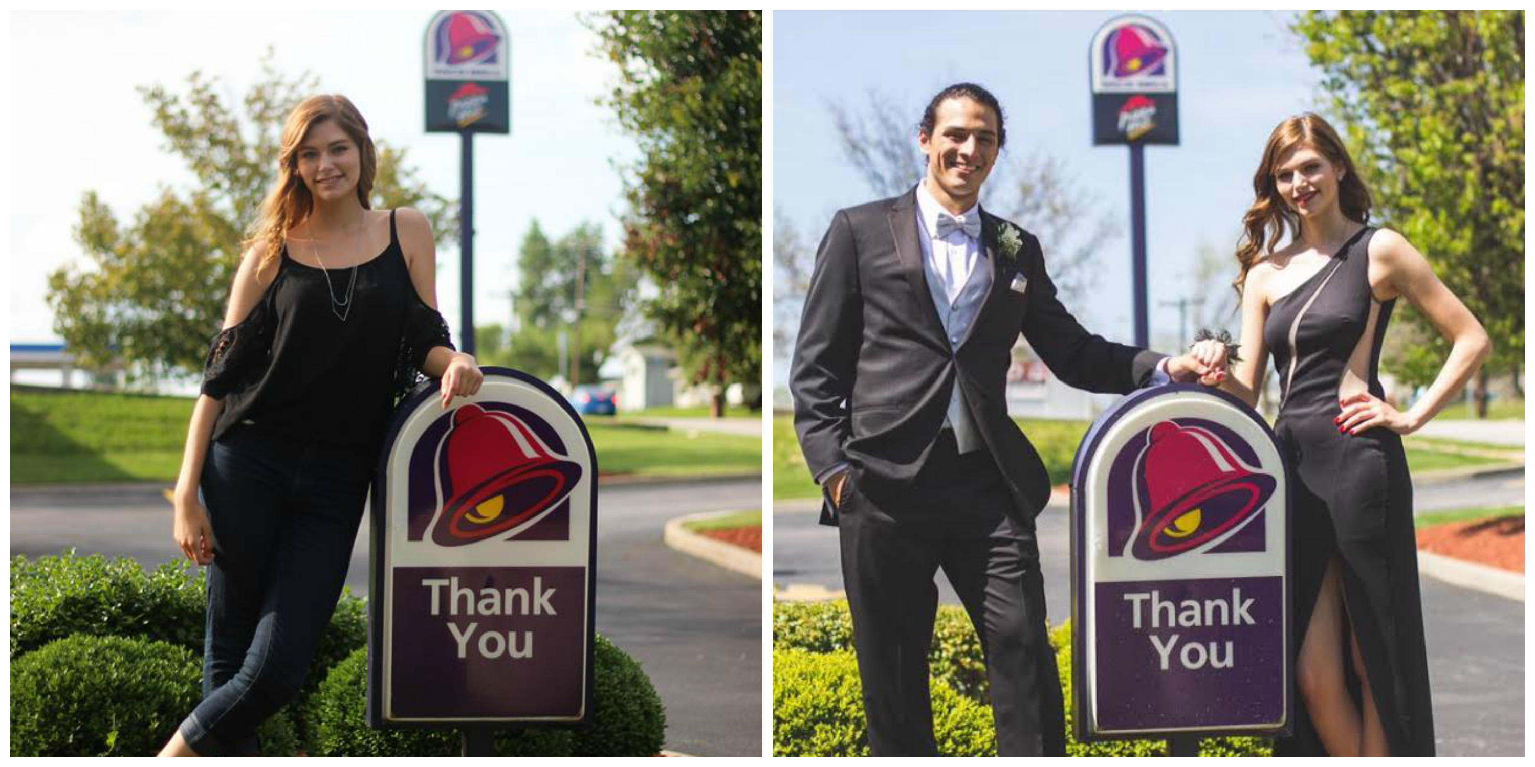 Taco Bell senior photo vs senior prom photo.