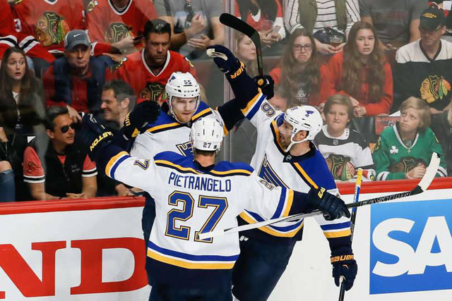 Sad Blackhawks fans react to Colton Parayko's goal for the St. Louis Blues in Game 3. St. Louis Blues Win in Chicago, Take Series Lead.