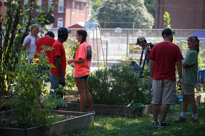 Volunteers congregate in a community garden. Call it Gardening 101. Photo courtesy of Gateway Greening