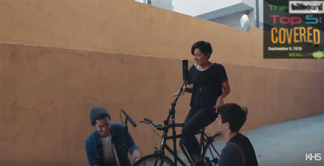 "Kina Grannis, Kurt Schneider and a bicycle cover ""Cheap Thrills"" by Sia in this week's edition of The Billboard Top 5: Covered."