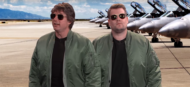 Tom Cruise and James Corden act out Tom Cruise's film career.