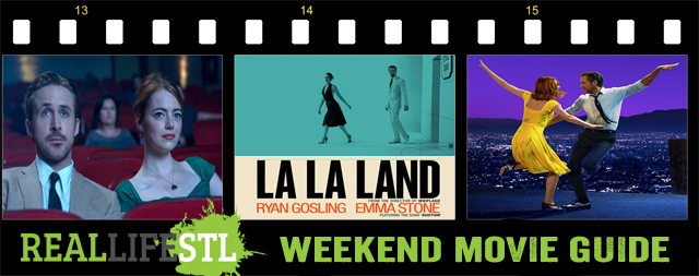 Emma Stone and Ryan Gosling star in La la Land. It highlights this week's Weekend Movie Guide.