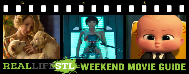 Ghost in the Shell, Boss Baby and Zookeeper's Wife open in movie theaters around St. Louis this weekend.