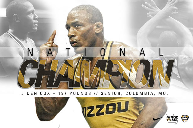 J'den Cox of Missouri wins third national championship. Image: Mizzou Wrestling