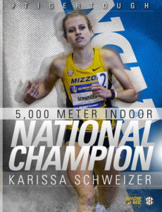 Missouri junior Karissa Schweizer won the 5,000m Indoor National Championship over the weekend.
