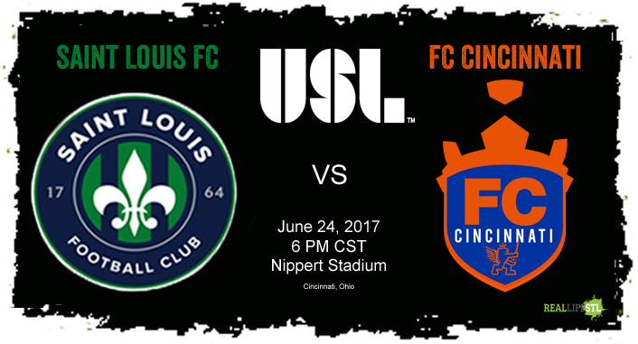 Saint Louis FC trave3ls to Cincinnati on June 24 to take on FC Cincinnati in a United Soccer League match at Nippert Stadium.