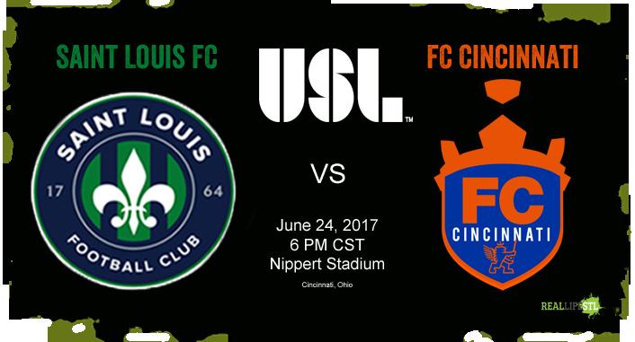 Saint Louis FC trave3ls to Cincinnati on June 24 to take on FC Cincinnati in a United Soccer League match at Nippert Stadium.