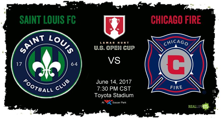 St Louis FC hosts the Chicago Fire in the fourth round of the Lamar Hunt U.S. Open Cup on June 14, 2017 at World Wide Technology Soccer Park in Fenton.