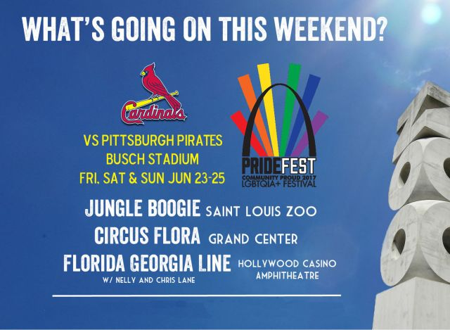 What's going on around St. Louis this weekend? STL Weekend Events for June 23-25, 2017 featuring PrideFest, Cardinals baseball and more.