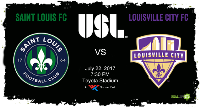 Saint Louis FC welcomes Louisville City FC to Soccer Park in St. Louis on July 22 for a United Soccer League match.