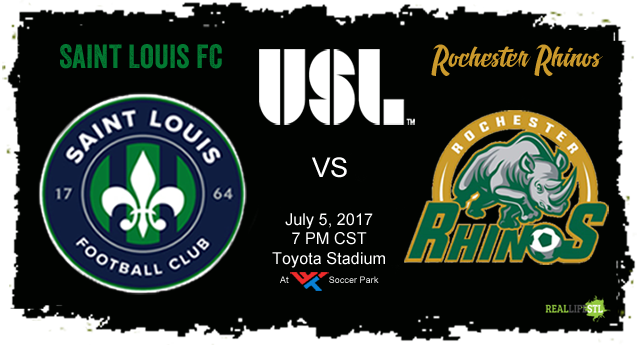 Saint Louis FC takes on the Rochester Rhinos in St. Louis on July 5, 2017 in a United Soccer League match.