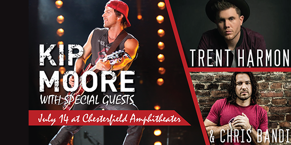 Kip Moore, Trent Harmon and Chris Bandi play the stage at the Chesterfield Amphitheater. Check it out in the St. Louis Weekend Events Guide from RealLifeSTL.