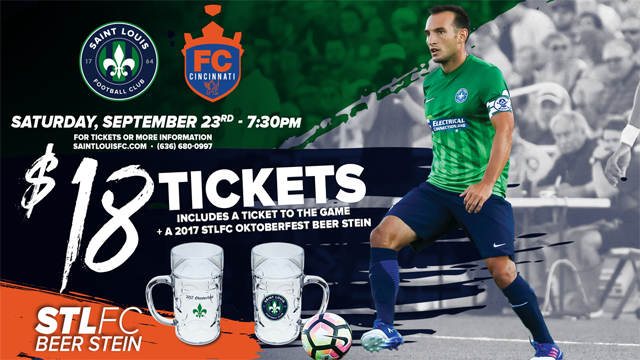 Get this limited edition 2017 STLFC Oktoberfest beer stein with your general admission ticket to the September 23rd match for just $18.