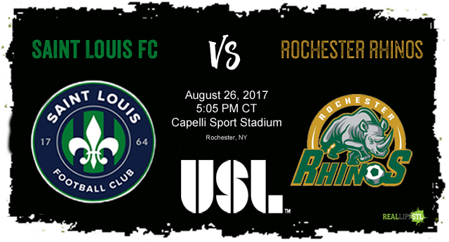 Saint Louis FC takes on the Rochester Rhinos on August 26 in Rochester.