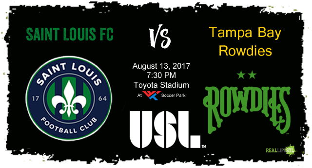 Tampa Bay Rowdies come to St. Louis for a Sunday night matchup with Saint Louis FC on August 13 at Toyota Stadium.