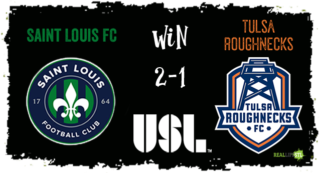 Saint Louis FC beat the Tulsa Roughnecks 2-1 on Wednesday night in St. Louis.