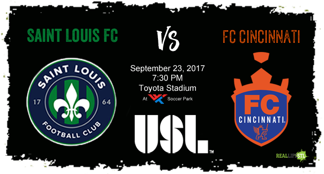 Saint Louis FC welcomes FC Cincinnati to World Wide Technology Soccer Park in St. Louis on September 23.