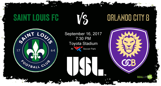 Saint Louis FC welcomes Orlando City B to Toyota Stadium in St. Louis on September 16, 2017 for a United Soccer League match.