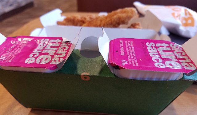 The new Buttermilk Crispy Tenders at McDonald's come in this new box with sauce holders.