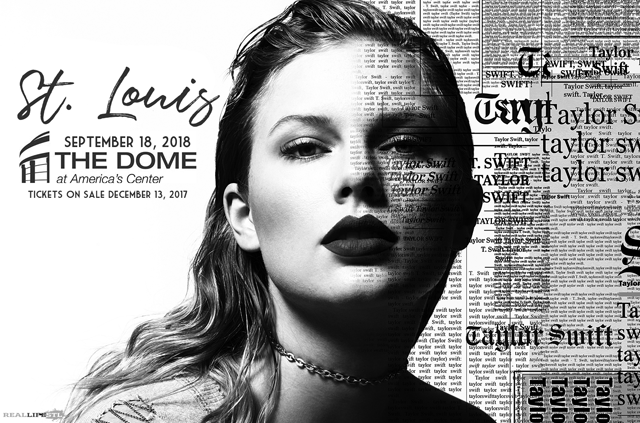 Taylor Swift will play a concert at The Dome at America's Center in St. Louis on September 18, 2018. The stop will be part of her Reputation World Tour.
