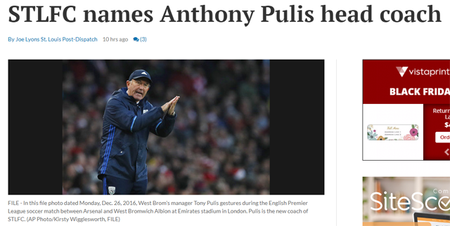 The St. Louis Post-Dispatch used a photo of Tony Pulis in an article about his son, Anthony Pulis, being named the new head coach of Saint Louis FC.