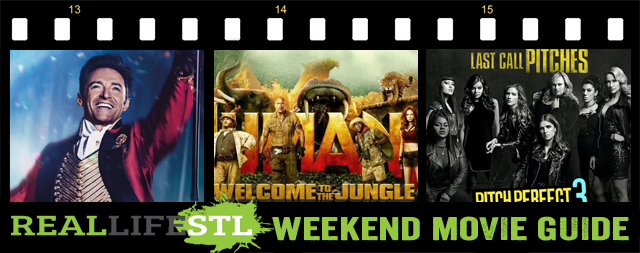 Jumanji: Welcome To The Jungle, The Greatest Showman and Pitch Perfect 3 all open in movie theaters this weekend. Downsizing and Father Figures are also in movie theaters this weekend. It's the Weekend Movie Guide, Christmas edition, from RealLifeSTL.
