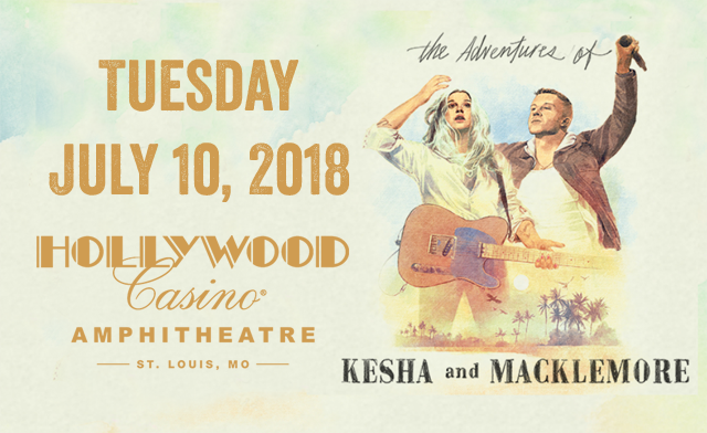 Kesha and Macklemore will make a stop in St. Louis on Tuesday July 10, 2018 as part of their The Adventures of Kesha and Macklemore tour. The concert will be at Hollywood Casino Amphitheatre in Maryland Heights.