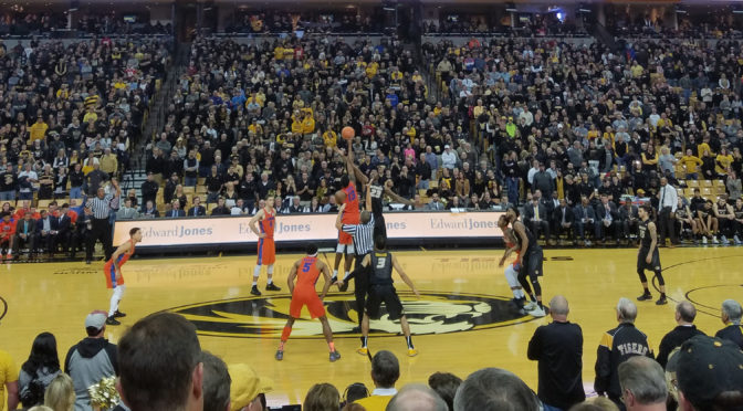 The Missouri Tigers and Florida Gators tip off in a men's basketball game on January 6, 2018 at Mizzou Arena in Columbia, Missouri.