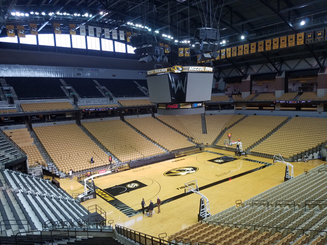 Mizzou Arena, home of the Missouri Tigers men's and women's basketball teams, as seen on an off-day before the season.