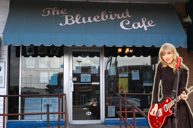 Taylor Swift recently joined Craig Wiseman on-stage at the Bluebird Cafe in Nashville. Here is a cardboard cutout of Swift in front of The Bluebird.